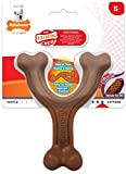 Nylabone Extreme Tough Dog Chew Toy, Wishbone Bison Flavour, Small, for Dogs Up to 11 kg
