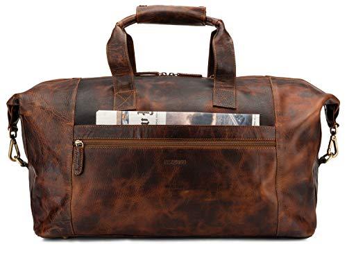 LEABAGS Dubai Reisetasche Handgepäcktasche Sporttasche aus echtem Leder im Vintage Look - FurryVinkat