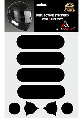 Autodomy Pegatinas Reflectantes Casco Moto Moteros Moteras Pack 8 Unidades para Moto Diseño Racing (Negro Reflectante)