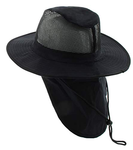 JFH GROUP Wide Brim Unisex Safari/Outback Summer Hat w/Neck Flap (Small, Black)