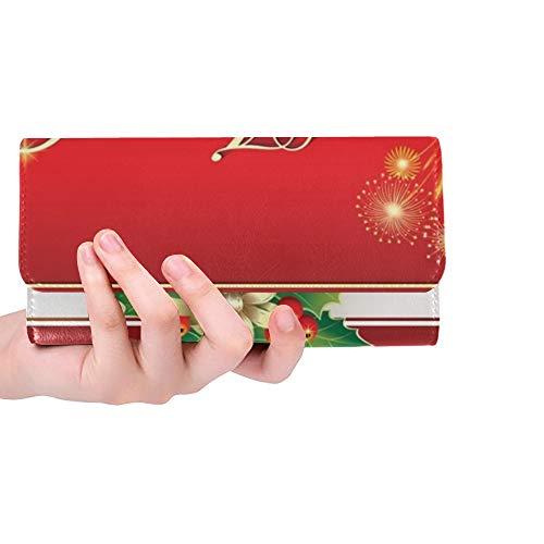 Einzigartige Benutzerdefinierte Weihnachtskarte Weihnachtsbaum Glocken Rahmen Frauen Trifold Brieftasche Lange Geldbörse Kreditkarteninhaber Fall Handtasche