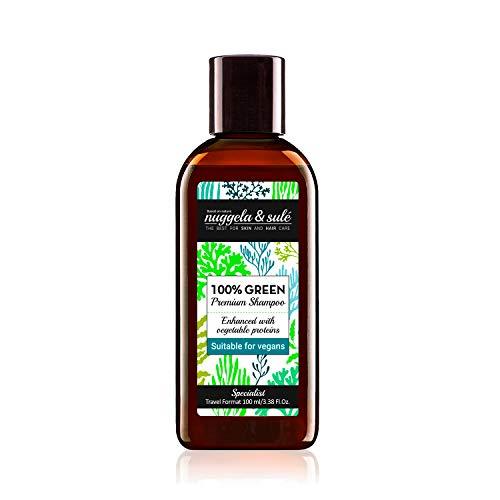 Nuggela & Sulé Shampoo 100% Green Vegan 100 ml / 3,38 Fl.Oz Reiseformat Leistungsstarke natürliche Wirkstoffformel. Pflegt und stärkt OHNE Sulfate, Silikone, Parabene....