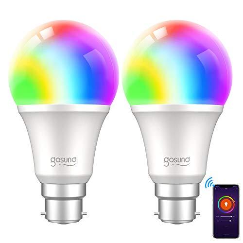 Gosund WiFi-Smart-Birne, B22, RGBW, dimmbar, mit Farbwechsel, warmweiß, mit Fernbedienung und Sprachsteuerung, Kompatibel mit Alexa, Google Home und IFTTT, kein Hub erforderlich (2 Stück)