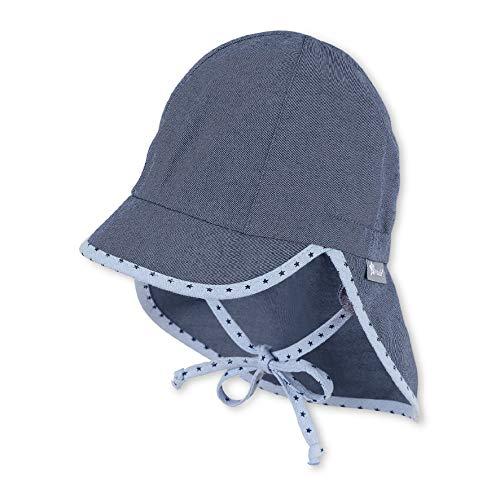 Sterntaler Jungen Schirmmütze Bindebändern, Nackenschutz und Pünktchenmuster an Rand und Bändern Mütze, Blau (Mittelblau 365), (Herstellergröße: 53)