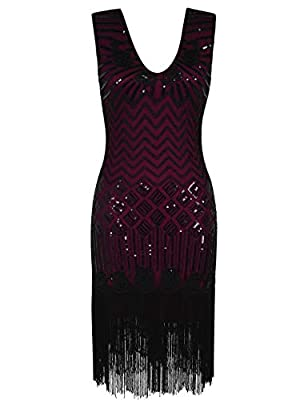 PrettyGuide Women's 1920s Dress Floral Embroidery Bead Sequin Fringed Flapper Dress