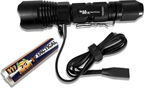 MF Tactical Juno-5 USB Rechargeable Tactical LED Flashlight Set -1300 Lumen Hi Quality Pro Grade 5 Mode w/Color LED battery level indicator. Includes Li-ion Battery, Strap & Pocket Clip.