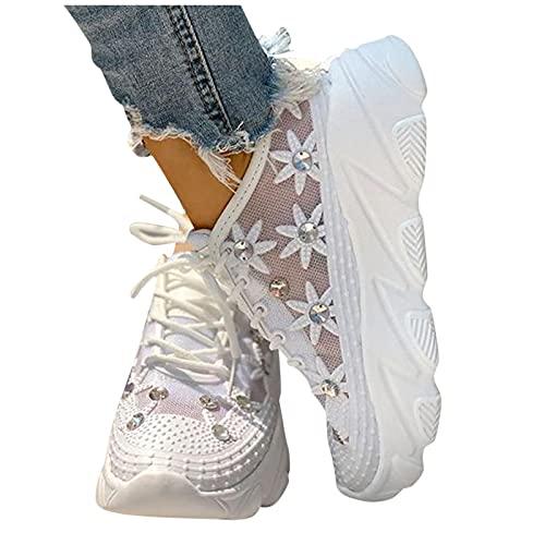 Briskorry Damen Plateau Sneaker Bequeme Netz Laufschuhe mit Keilabsatz Atmungsaktive Strass Glänzend Slippers Freizeitschuhe Leichte Schnüren Flache Schuhe Hohle Loafer Laufen