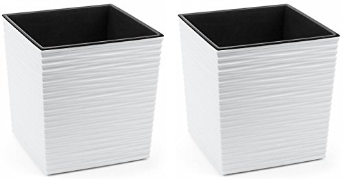 Kreher 2 x XXL Design Kunststoff Pflanzkübel eckig 40x40 cm, Höhe 41 cm, Wellen Struktur, mit herausnehmbaren Einsatz, weiß matt