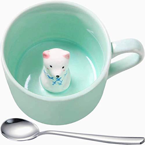 WYYHYPY Fortune Cat Coffeemugs, 3D Bottom Animal Stereo Teacup, Fortune Cat es un símbolo de la Suerte, cumpleaños de Navidad Día de San Valentín Tazas (Color : Bear)