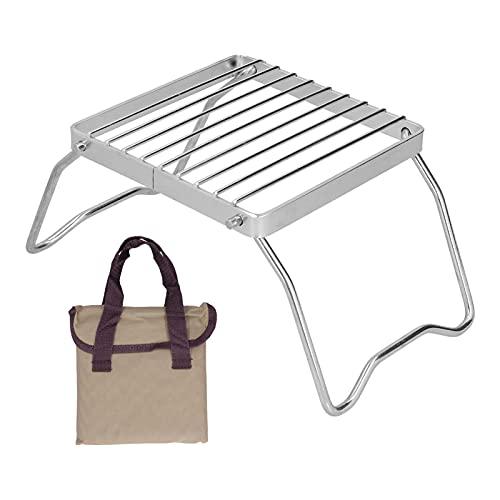 CUTULAMO Edelstahl-Brennerhalterung, Mini-Brennerständer Outdoor liefert Gute Wärmeleitfähigkeit mit Aufbewahrungstasche für Outdoor-Camping-Picknick