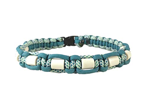 EM-Keramik Halsband für Hunde, mit Name möglich, verschiedene Größen wählbar, original EM-X-Keramik-Pipes, petrol/weiß-mint gemustert