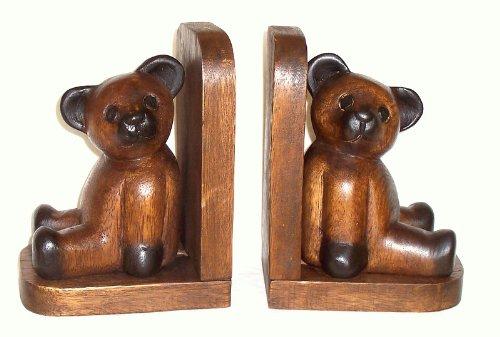 2 Buchstützen mit Bären Akazienholz handgeschnitzt
