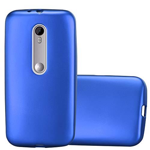 Cadorabo Funda para Motorola Moto G3 en Metallic Azul - Cubierta Proteccíon de Silicona TPU Delgada e Flexible con Antichoque - Gel Case Cover Carcasa Ligera