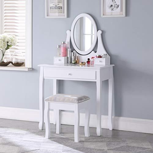 Salbay Weißer moderner Schminktisch mit ovalem Spiegel, 3 Schubladen, Hocker aus Kiefernholz, für Schlafzimmer, Ankleidezimmer