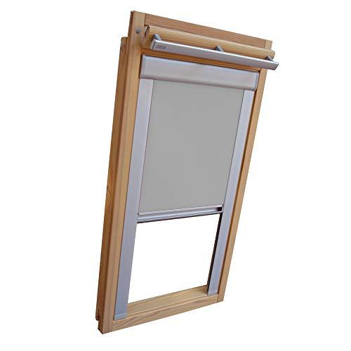 Sichtschutz-Rollo für VELUX Dachfenster für TYP VL Y/VU Y/VKU - Y21 - Farbe grau - mit Aluminium Seitenschienen