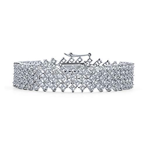 Bling Jewelry Bridal Ampia Cubic Zirconia AAA CZ Moda Bracciale Cluster per Donne per Le Prom Pageant in Ottone Placcato in Argento