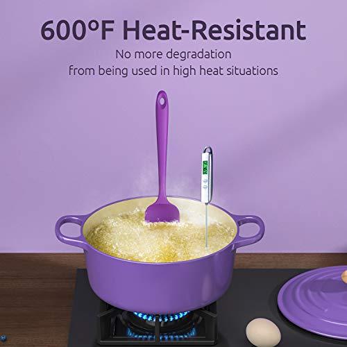 U-Taste Silicone Spatula Set with 600 Degrees Fahrenheit Heat Resistant (Purple)