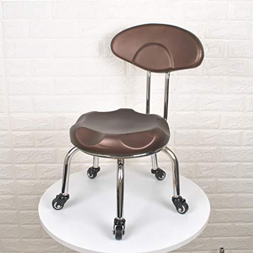 Kleine stoel met rugleuning en riemschijf – kruk onder van PU-leer metallic voor kinderen, thuis en buiten B