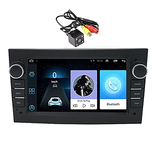 2 DIN 7 Pulgadas Android 9.1 (1G + 16G) Radio de Coche Bluetooth WiFi Navegación GPS Pantalla Táctil Reproductor Multimedia Estéreo de Coche 2.5D IPS Compatible para O/Pel con Cámara 4LED
