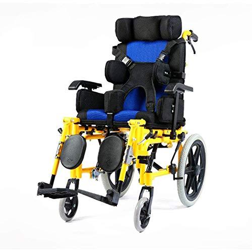WANGXNCase Rollstuhl Faltbar Aluminium Kinderrollstuhl Mit Selbstantrieb, Voll Liegende Klapprollstühle Manuelle Mobilitätsroller Mit Beinstütze Und Esstisch