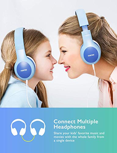 Fortas Kids Headphones, Audio Sharing Fu   nction On-Ear Headphones with 85dB Volume Limited, Soft Earmuffs, 3.5mm Jack, Compatible with iPhone, iPad, Cellphones, Tablets, Android, Mac, PC (Blue)