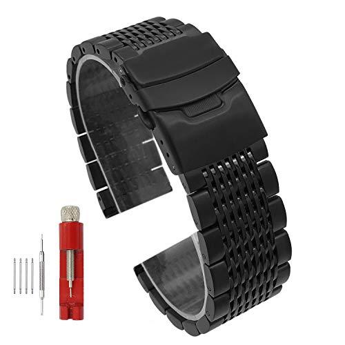 Solid Mesh Stainless Steel Bracelets 20mm/22mm/24mm Watch Bands Deployment Buckle Brushed/Polished Strap for Men Women (20mm, Silver)