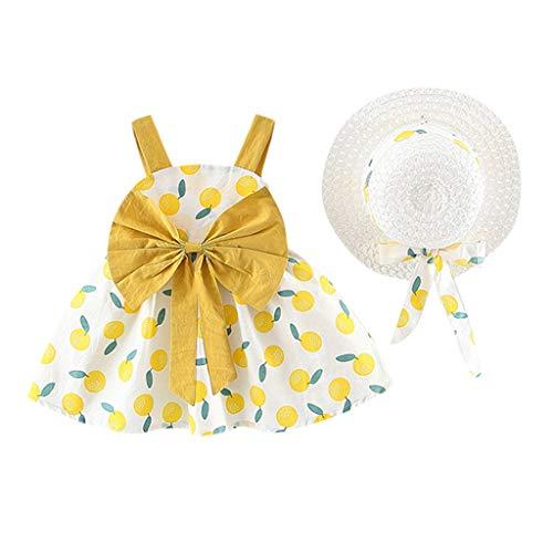 Robe Tutu d'été décontractée pour Fille en Coton avec Motif Floral Noeud Papillon Robe de Fille pour bébé Vêtements+ Chapeau pour Fille pour bébé 0-24 Mois Bluestercool