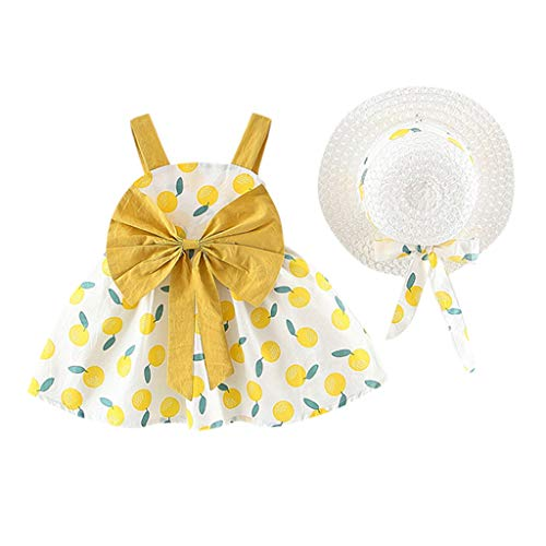 Moneycom - Vestido infantil para niña sin mangas, color naranja amarillo 6-12 Meses
