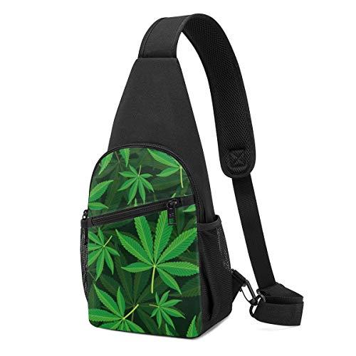 Sunny R Paquete de Cofre para Hombres Bolso Cruzado de Hoja de Marihuana Potente y Vibrante de Marihuana con Correa de Hombro Ajustable para Ir de Compras Ir de Excursión Deportes Al Aire Libre