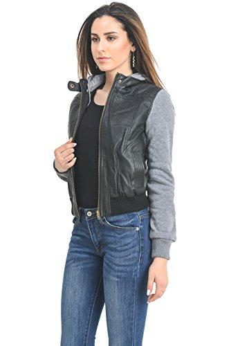 Instar Mode Women's Hooded Fleece Sleeve Biker Faux Leather Jackets (Black/Grey, Small)