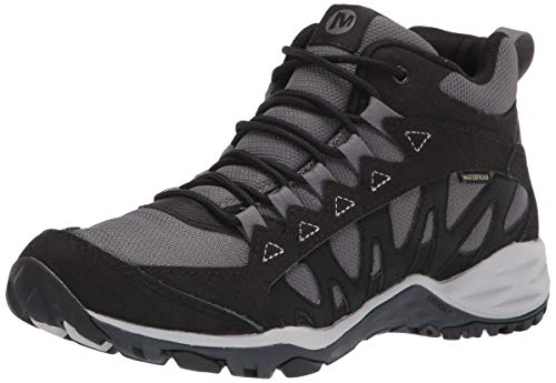 Merrell Women's Lulea Mid Waterproof Hiking Boot, BLACK, 7.5