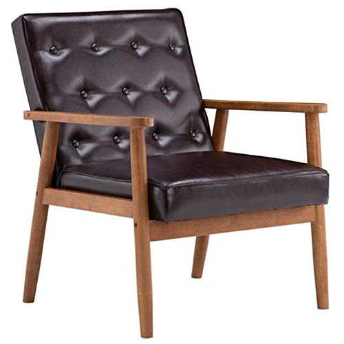 Wuzhengzhijia Retro Single Sofa Chair, Modern Wooden Pu Leather Sofa for Leisure, Comfortable Sedentary Single Chair, Small Sofa Lounge Chair, Fabric Sofa Chair with Armrests (75 X 69 X 84cm)