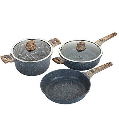 ROSSETTO Set de Friteuse 24cm+ poêle 28cm + Sauteuse 28cm, Revêtement Anti-adhérent, Font Aluminium, Tous Feux Dont Induction (Silver Gris)