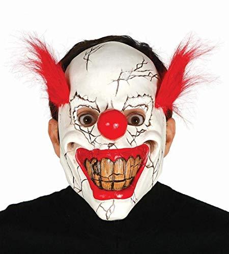Guirca - Máscara de payaso asesino Clown con pelo, color blanco y rojo, 2484