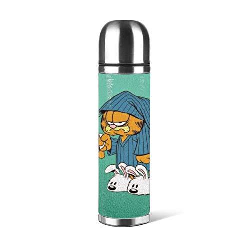 donghu Garfield Botella de agua de acero inoxidable de 17 onzas con aislamiento al vacío, botella de agua reutilizable de doble pared 24 Ho