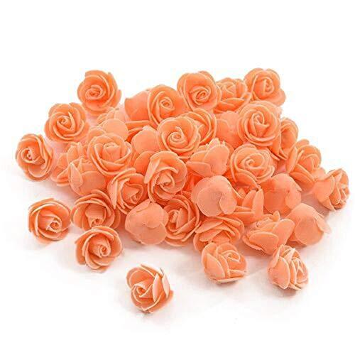 Yalulu 300 Stück Foamrosen Schaumrosen Schaumköpfe Künstliche Blume Brautstrauß Rosenköpfe DIY Handwerk Hochzeits Valentinstag Dekor (Orange)