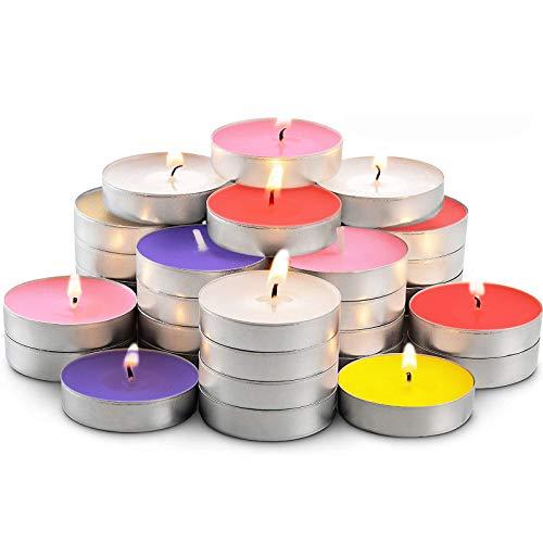 Velas de luz de té 50 piezas de cera más cálidas Tealights 4 horas para el hogar Vela de Nochebuena Mezcla de colores Amor en forma de corazón Luz de vela romántica de larga duración