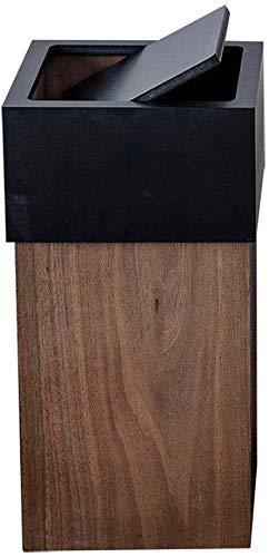 Bote de basura Madera bote de basura plaza original ecológica Papelera de reciclaje de basura de residuos de papel puede papeleras de 30 litros (7.9gallon) Traducido / Exterior (Color: Marrón) Bote de