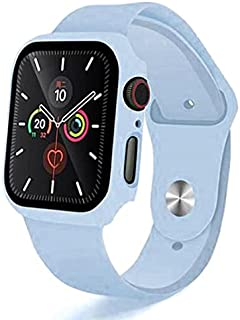 2 in 1 Silicone Watch Band & Protective Case With Tempered Glass Size 44 MM For Apple watch Series 4/5/6 - Baby Blue