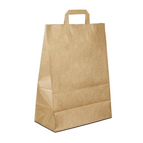 250 x Papiertaschen braun 32+17x44 cm | stabile Paper Bag | Tüten Flachhenkel | Kraftpapiertüten Mittel | Tragetüten | braunes Papier | HUTNER