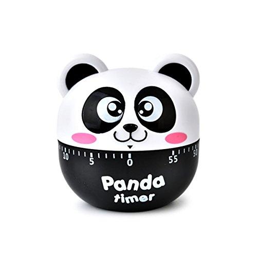 Besttimes Niedlichen Tier Panda Kochen Timer Mechanische Küche Eieruhr Gekochtes Ei Timer für Study Teaching Games (Schwarz)