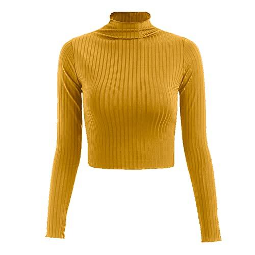 N\P Camiseta de punto de manga larga con cuello medio alto para mujer