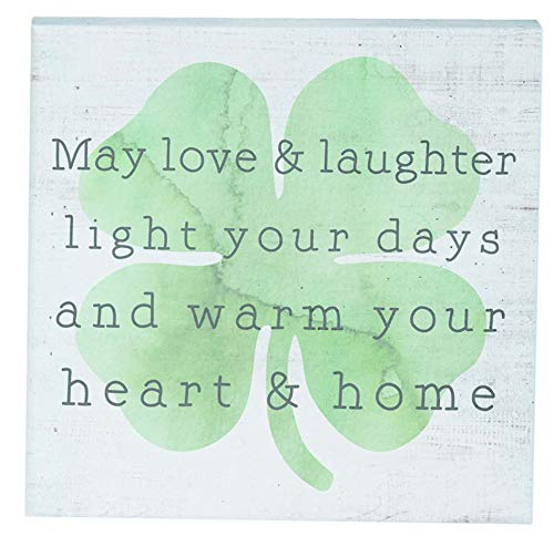 "Simply Said, INC Small Talk Sign 5.25"" Wood Block Plaque - May Love & Laughter Light Your Days and Warm Your Heat & Home"