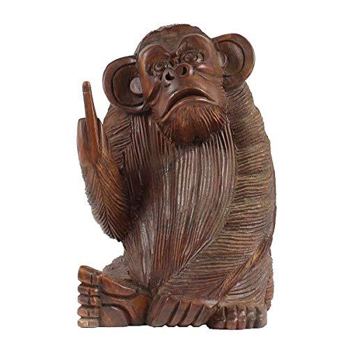 Oriental Galerie AFFE aus Holz Figur Skulptur Affenfigur Stinkefinger Sitzend Deko Tier Monkey 20 cm
