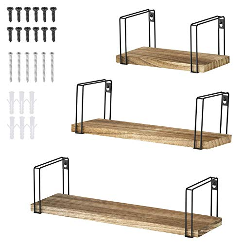 Wandregal Hängeregal Holz 3-in-1 Wooden Wandregal Set 3-lagige Diele zum Aufhängen Anzeigen Sammlerstücken Foto