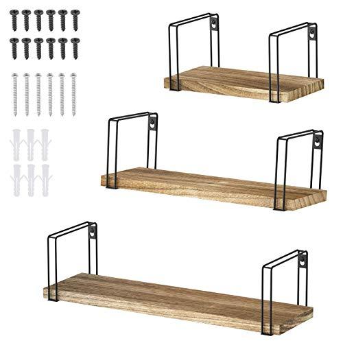 EMSea 3 en 1 estante de pared de madera juego de 3 tablones de frenos para colgar exhibición de objetos coleccionables foto