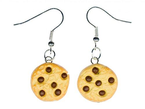 Miniblings Kekse Chocolate Chips Ohrringe - Handmade Modeschmuck I Schokokeks Handarbeit - Ohrhänger Ohrschmuck versilbert