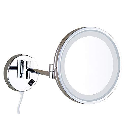 Miroir De Maquillage Mural LED, Un Miroir De Maquillage Pliage Simple Face Avec De La Lumière, Un Miroir De Salle De Bain De 10 Pouces Tournant À 360 Degrés,Argent