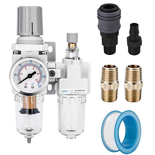 "NANPU 1/4"" NPT Compressed Air Filter Regulator Lubricator Combo Water/Oil Trap Separator - Gauge(0-150 psi), Poly Bowl, Semi-Auto Drain, Bracket - 3 in 1 Two Unit"