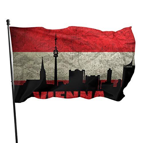 UKFaaa Banderas Decorativas de Arquitectura de Austria Viena, 3 x 5 pies, Bandera para decoración de Interiores y Exteriores, Negro, Talla única